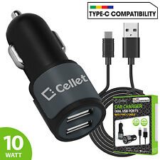 2.1A Dual USB Port Car Charger w/ Type C USB Data Cable for Samsung Motorola LG