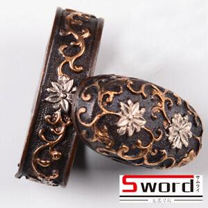 Flowers Gold Plated Brass Kashira Butt Cap Fuchi Hilt Collar For Japanese Sword