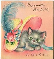 VINTAGE CAT KITTEN GRAY GREEN EYES GARDEN ROSE FEATHER HAT GREETING CARD PRINT