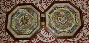 ANTIQUE WOOD INLAID ORNATE SEASHELL DOUBLE FRAMED SAILORS SAILOR'S VALENTINE