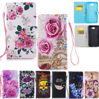 Magnetic Flip Leather Wallet Wrist Strap Case Cover For Samsung Galaxy J7 Prime