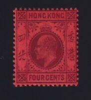 Hong Kong Sc #89 (1904-11) 4c violet on red King Edward VII Mint H