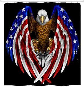 USA Flag American Patriotic Eagle Fabric Shower Curtain Sets Bathroom Decor 71in