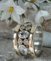 AAA QUALITY STERLING 925 SILVER HANDCRAFT JEWELRY TOP RICH WHITE TOPAZ BAND RING