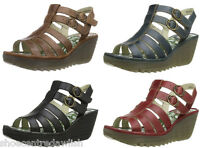 Fly London Women's YGOR Leather Platform Wedge Shoes Sandals
