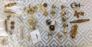 Brass Handles Lock Escutcheon Pulls Clock Makers Collection of Restoration Parts