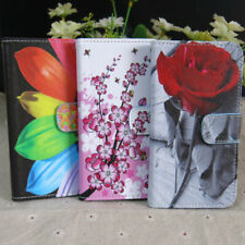 Red Rose Plum Flower Sunflower Wallet Flip Case Cover For HTC Google Phone