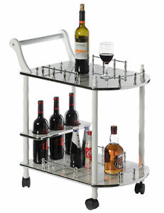 Wood Serving Bar Cart Tea Trolley with 2 Tier Shelves and Rolling Wheels