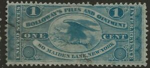RS 124a--HOLLOWAY'S 1 CENT  MATCH AND MEDICINE STAMP--76