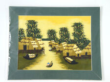 Vietnam Asian Handmade Embroidery Picture River View Boat