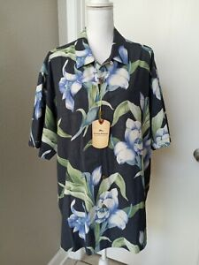 tommy bahama xl t shirt, Floral, Blue/ charcoal, Silk