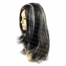 Wiwigs Beautiful Long Straight Black Brown & Grey Skin Top Ladies Wig