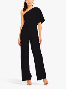 Adriana Papell Black One Shoulder Jumpsuit.  UK Size 10. RRP £189