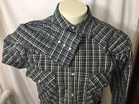 Wrangler Long Sleeve Pearl Snap Western Rockabilly Green Blue Plaid Shirt L
