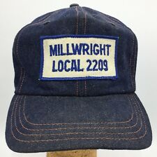 Vtg Millwright Local 2209 Sewn Patch Front Denim Made in USA Snapback Hat Cap