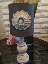 Stylish Resin Base Accent Table Lamp With Beige Fabric Shade & Flower. New