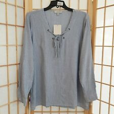 NWT Daisy Fuentes Womens Blue White Tie Collar Blouse Top Sz S
