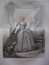 Grande gravure Portrait de Marie Thérèse Antoinette Infante d' Espagne  Dauphine