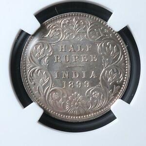 1/2 rupee 1899B India NGC MS-62 KM#491 silver half r Inde भारत गणराज्य