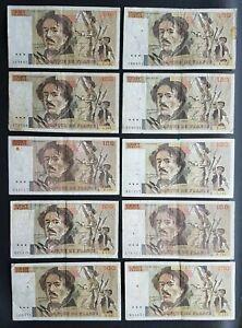 FRANCE - FRANCIA - FRENCH NOTES - LOT DE 10 BILLETS DE 100 FRANCS DELACROIX - I.