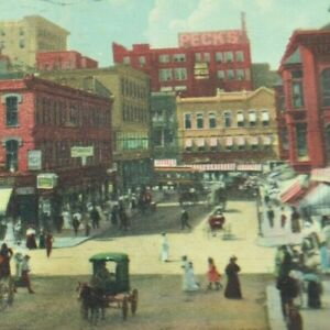 Vintage Early 1900's Postcard Kansas City, Missouri  Petticoat Lane Street Life