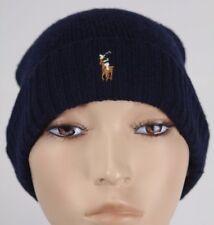 Polo Ralph Lauren Navy Blue Merino Wool Cuff Beanie Hat Skull NWT