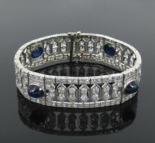Antique Art Deco 15.0ct Old Mine Cut Diamond & 8.5ct Sapphire Platinum Bracelet