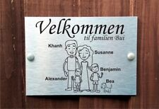 Norwegian Door Plaque Personalised Family House Name Sign for 2 Adults 2 Boys