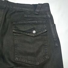 Men's John Galliano Black Button Fly Logo Ribbon Fly Embellishment Jeans 32 x 28