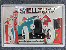 Blech-Schild - Embossed Steel Wall Sign - Shell - Green Car (20x30)