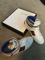 Gucci Stripe Ace High Top Sneakers Men's Bianco White Shoes Size 8.5 US