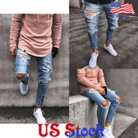 US Men's Ripped Jeans Pants Biker Skinny Slim Distressed Denim Zipper Trousers