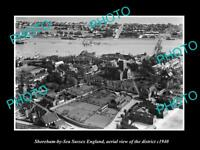 OLD LARGE HISTORIC PHOTO SHOREHAM BY SEA SUSSEX ENGLAND AERIAL VIEW c1940