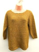 Ladies Ex M&S Alpaca Blend Mustard Marl Jumper 3/4 Sleeves Sizes 8-20 *NEW*