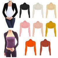 Womens Long Sleeve Cropped Bolero Shrug Top Ladies Cardigan Plus Size UK 8-26