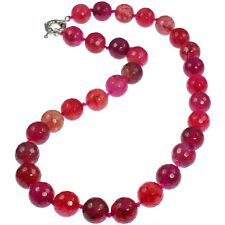 Semi precious gemstone purple and pink agate round bead stone choker necklace