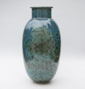 Vase Keramik mit Kristallglasur - Kunstkeramik - Art Pottery gemarkt - 37cm