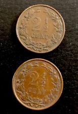2 antike Münzen 2 1/2 Cent Niederlande 1880 / 1886