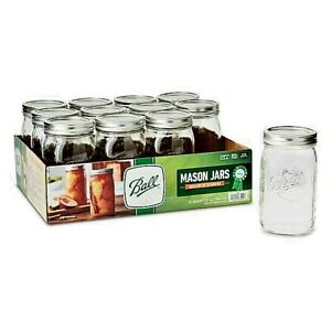 Ball, Glass Mason Jars with Lids & Bands, Wide Mouth,32 oz, 12 Count