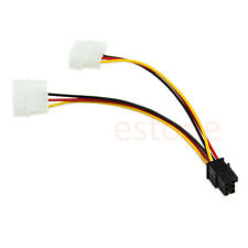 1PC 2X 4 Pin Molex to 6 Pin PCI Express PCIE Video Card Power Adapter Cable