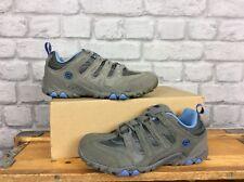 HI-TEC LADIES UK 4 EU 37 GREY BLUE SAUNTER MID SUEDE WALKING SHOES