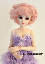 "1/6 or 1/4 bjd 6-7"" doll wig pink color curly real mohair W-JD250S dollfie Lati"
