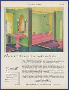 Vintage 1930 STANDARD Plumbing Fixtures Pink Bathroom Clarence Cole 30s Print Ad
