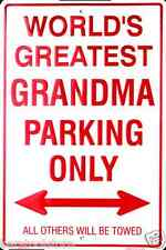 World's Best Grandma Parking Only Metal Tin Sign Gameroom Garage USA