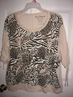 WOMENS shirt (size 2x,3x) BEIGE SHORT sleeve ANIMAL PRINT T20
