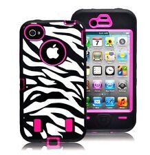 Zebra Print Hybrid Case for iPhone 4 / 4S - Hot Pink