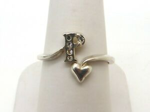 Adjustable 925 Silver Ring Initial Letter 'P' & Heart Design Glass Size UK Q