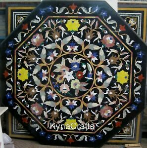 48 Inch Marble Kitchen Table Pietra Dura Art Dining Table Top for Kitchen Area