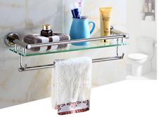 Bathroom Glass Shower Shelf Stainless steel Towel Rack Hook Shampoo Basket new