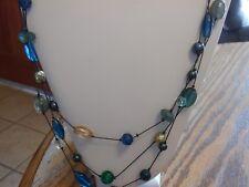"""Lia Sophia Hematite 3 Strand """"Sea Glass"""" Necklace 28-31 inches NWT"""